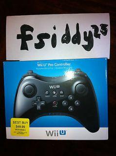 NEW Nintendo Wii U Black Pro Wireless Controller In Hand Ready to Ship