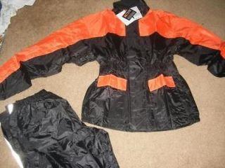 Motorcycle Biker Rain Suit Gear 2 piece LG/XL Orange & Black Rain Gear