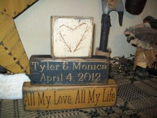 PRIMITIVE CUSTOM BLOCK SIGN~~ALL MY LOVE ALL MY LIFE~~HAPPILY EVER
