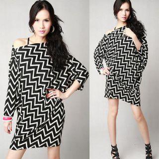 Q186 Black Women Korea Loose One Shoulder Batwing Blouse T shirt Dress