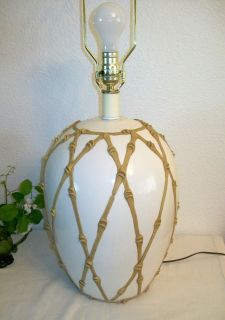 Vintage Hollywood Regency Ginger Jar Lamp with Bamboo Lattice Overlay
