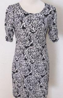 BANANA REPUBLIC Womens Black & White Floral Stretch Dress PETITE XS S