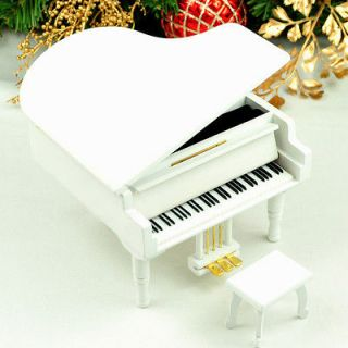 Unchained Melody Piano Music Box from Sankyo Musical Movement (White