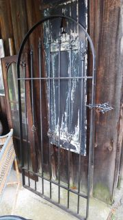 Black Wrought Iron Swinging gate 76x36x1.5 Arched, Garden Gate or