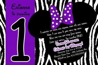 Purple Mickey & Minnie Mouse Birthday Invitations cards