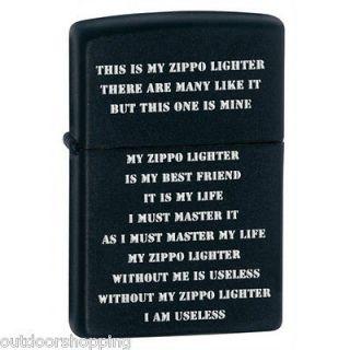 BLACK MATTE ZIPPO LIGHTER CREED   Refillable Fluid Lighter