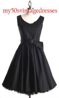 50s Audrey Hepburn Style Little Black Dress Size L Pinup Vintage
