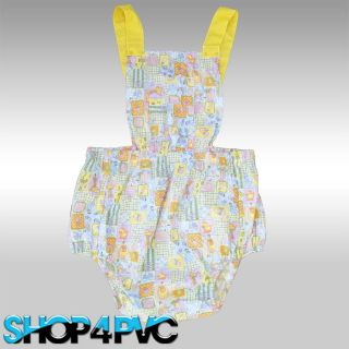 Cute Adult Baby Romper Dungaree Onesie With Lined Waterproof PVC