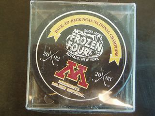 Gophers Back to Back NCAA National Champions Frozen Four Hockey Puck