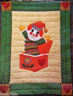 Vtg 70s baby Quilt blanket pattern Jack in the Box clown Gingham Goose