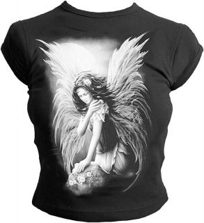 Clothing White Fairy Ladies Capped Sleeve Angel Wings T Shirt Top