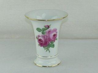 Antique 1st Quality Meissen Hand Painted Rose Porcelain Flower Vase