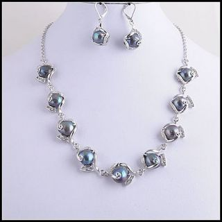 lots 4sets EXQUISITE Jewelry Natural Pearls Zircon Necklace Earrings