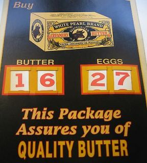 Newly listed WHITE PEARL QUALITY BUTTER COUNTRY STORE SIGN TWO PRICE