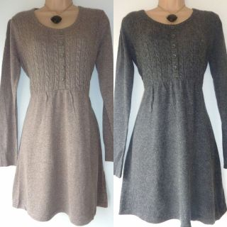 CO KNITTED JUMPER TUNIC DRESS GREY MOCHA WITH ANGORA WOOL WINTER