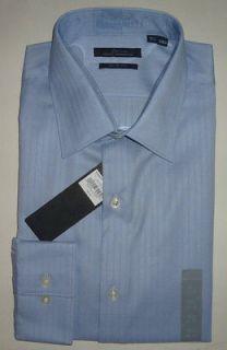 Mens Mens MARC ANTHONY Blue Slim Fit Striped Dress Shirt Wrinkle