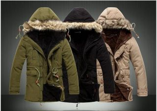 New Fashion Mens Cloth Hooded Fur Winter Long Coat Outerwear Warm