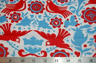 Alexander Henry Fabric Folklorico La Paloma Bird Red Blue on White