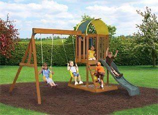 kids backyard wooden swingset wood swing set kit fort slide