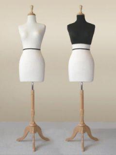 Dress Form WHT ky822 w/MAPLE Base MANNEQUIN + BLK cover