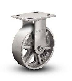 Albion Cast Iron Rigid Caster with 8 x 2 Heavy Duty Spoked Steel