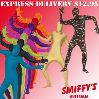 ADULTS SECOND SKIN SUITS/ZENTAI FULL BODY LYCRA SMIFFYS FANCY DRESS