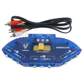 to 1 Audio Video AV Switch Switcher Splitter+RCA Cable 3 Feet