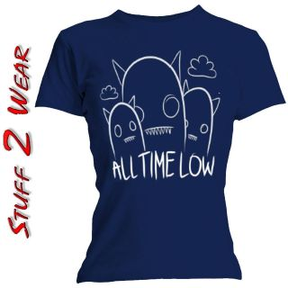 ALL TIME LOW Ghosts Line Drawn Navy T Shirt OFFICIAL S M L XL Womens