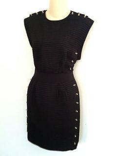 Phillip Lim Black Sleeveless Dress with Gold Studs. Size 8