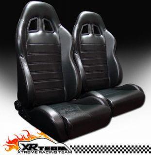 2x Universal SP Style V2 Black PVC Leather Racing Bucket Seats+Sliders
