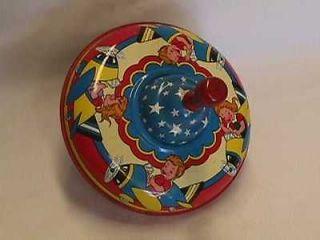 Vintage 1960s Original Ohio Art Company Tin Spin Top Toy Kids
