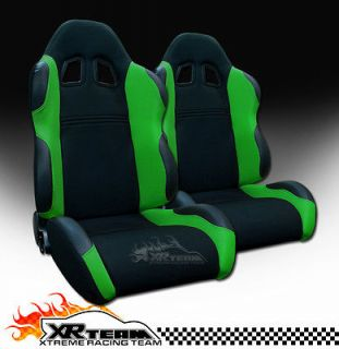 2x Left+Right Blk/Green Fabric & PVC Leather Reclinable Racing Seats