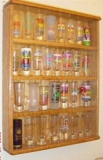 oak 4 inch shot glass display case shelf plexi front showcase