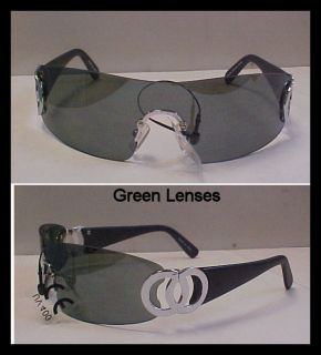 BONO CONCERT SHIELD SUNGLASSES GREEN 1 PIECE LENSES CELEBRITY