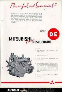 1953 Mitsubishi Fuso DE Diesel Truck Engine Brochure Japan