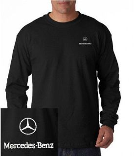 Mercedes Benz / Logo EMBROIDERED Black Long Sleeve Heavy Cotton T