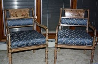 Pair of Vintage Drexel Heritage Asian Arm Chairs