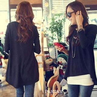 Womens fashion Black Loose Asymmetric hem long sleeve Tunic T shirt