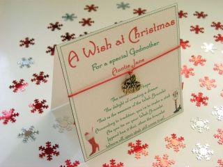 Personalised Godmother Christmas Wish Bracelet Gift Card Present