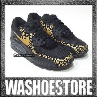 2012 Nike Wmns Air Max 90 Black Metallic Gold Leopard 325213 023 US 6