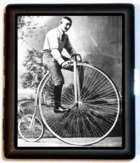 Victorian Man High Wheel Bicycle Bike Cigarette Case