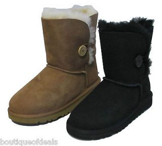 UGG Australia ~ Kids Bailey Button Boots ~ Sizes 13 6 Black or