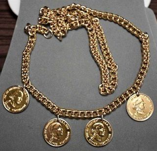 35 Gold Tone George Washington Chain Link Collectible Necklace