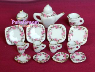 12 Dollhouse miniature dining ware porcelain tea set dish cup plate