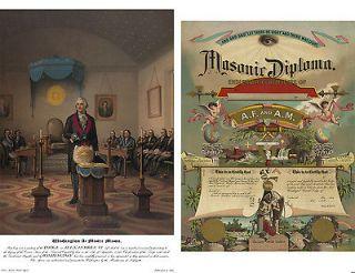 Set 2 Masonic Picture George Washington As Mason Lodge ring Antique
