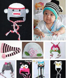 Toddler Baby Sock Monkey/Owl/Mouse Hat Beanie Crochet Handmade Cap