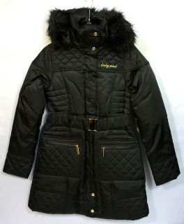 BABY PHAT COAT W/REMOVABLE FAUX FUR TRIM HOOD (BLACK) STYLE 1342BP