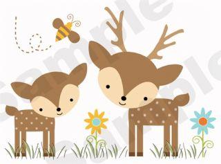 WOODLAND FOREST ANIMALS DEER BEE BABY NURSERY WALL ART MURAL STICKERS