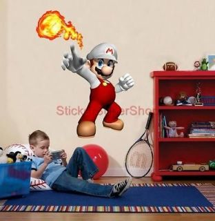 HUGE FIRE SUPER MARIO Bros Decal Removable WALL STICKER Decor Mural