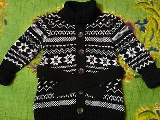 OLD NAVY Baby Girl SWEATER JACKET/COAT Black/Cream CARDIGAN Sz 18 24